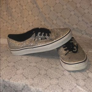 Silver Glitter Vans with Black accents